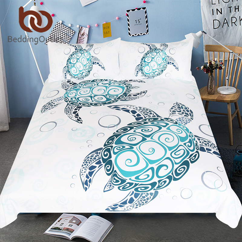 BeddingOutlet Turtles Bedding Set Tortoise Duvet Cover Marine Animal Home Textiles 3pcs Cartoon Blue White Bedclothes Drop Ship