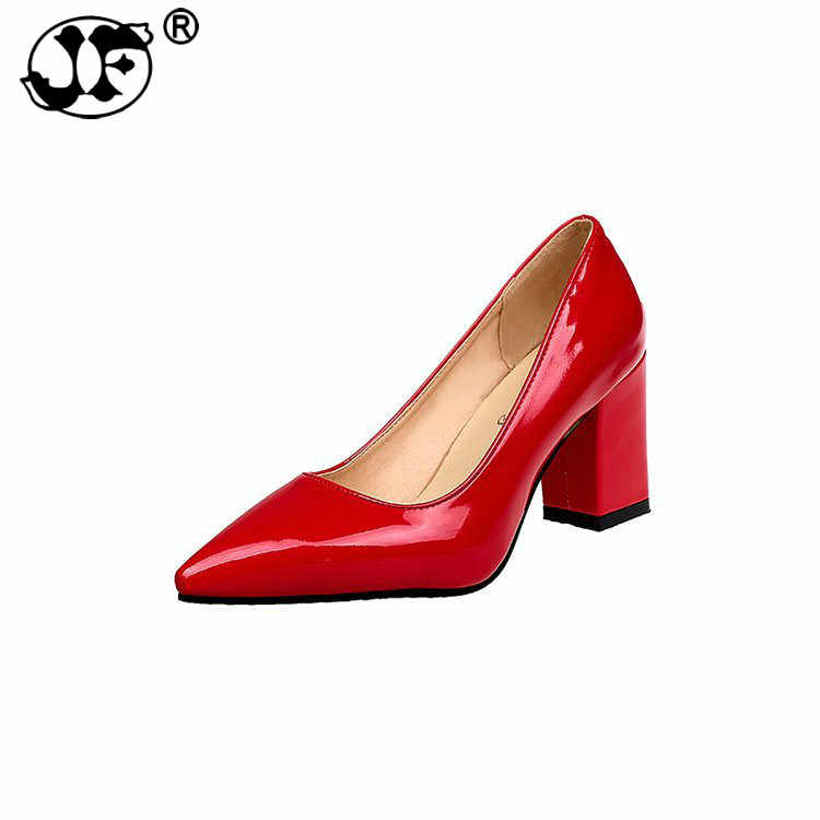 25e6a8b64e9 2019 new large size women s shoes thick with fashion pointed high heels  shallow mouth women s single