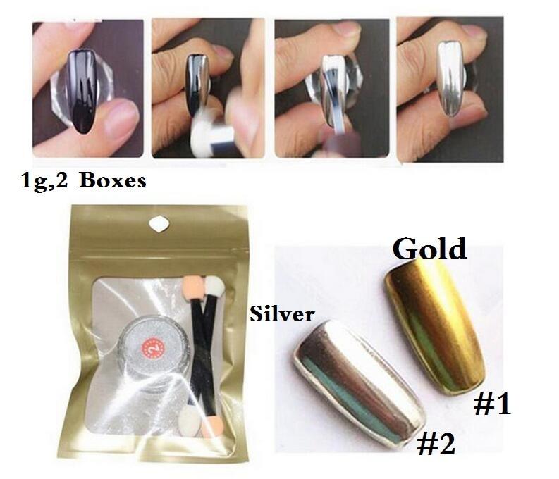 2 Box Oglindă Chrome Nail Pulbere Metalic + Argint Nail Polish Efect - Manichiură