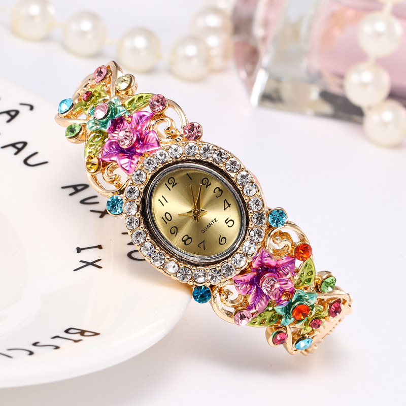 5Pcs Luxury Women 39 s Bracelet Watches Ladies Dress Watches Quartz Wristwatch Manual Bracelet Flower Wholesales relogio feminino in Women 39 s Watches from Watches