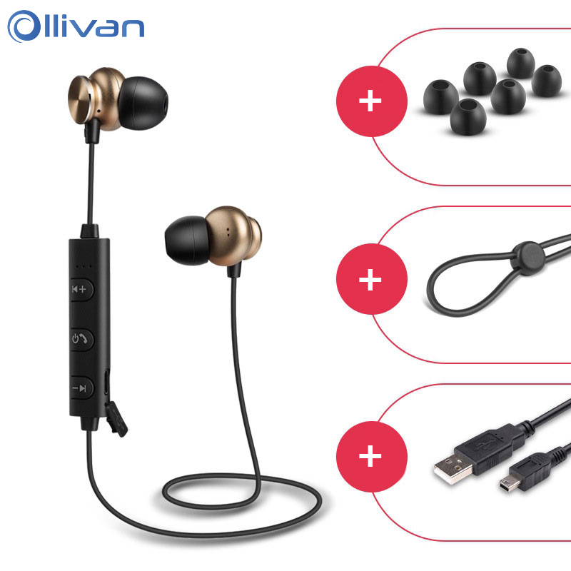 OLLIVAN Bluetooth Earphone Wireless Earphones Sports HiFi Headset with Mic Bass Stereo Earphone for a Mobile Phone auriculares 2017 meizu ep51 bluetooth waterproof sport earphone headset for phone computer wireless earphones apt x with mic stereo headsets
