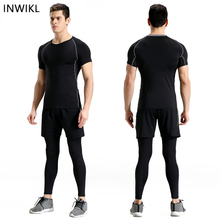 Men short Sleeve Running Set Quick Dry Basketball Gym Jogging Suit High quality Compression Yoga Sport Fitness Set Sport Clothes цена и фото