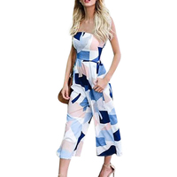 Sexy Floral Print Jumpsuits Woman Off Shoulder Jumpsuit One Piece Backless Club Rompers Women Strapless Bodysuit