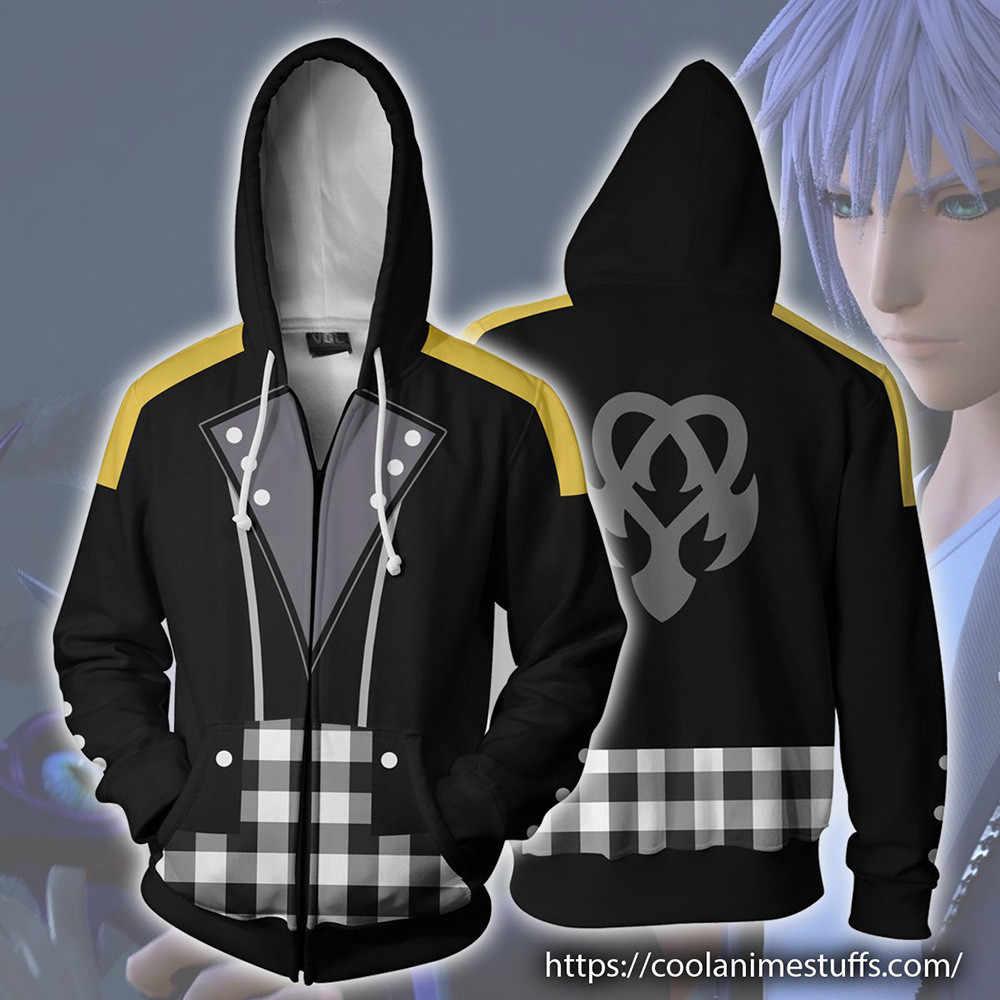 Япония Аниме Riku Keyblade толстовки Косплей костюмы осень для мужчин и женщин аниме 3D печать молния куртка с капюшоном свитер