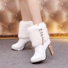 Bling Высокий каблук Сапоги с кроличьим мехом Для женщин плюшевая теплая обувь на платформе элегантные прозрачные женские свадебные вечерние туфли на высоком каблуке