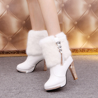 Women Winter Platform Ankle Boot EUROPE Martin Comfort Short Decoration Drill Fashion 10 5CM Thick With