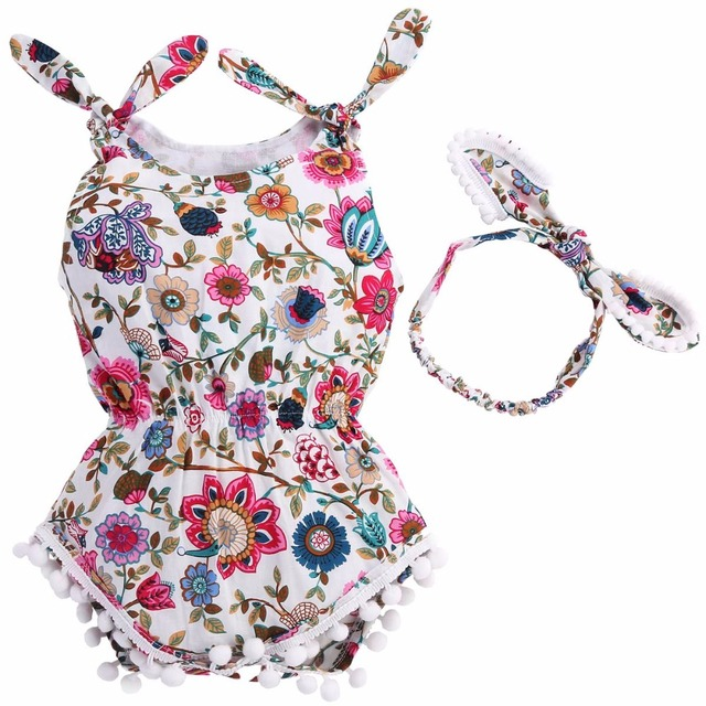 8ec58f1f6a6 Floral Tassels Baby Rompers Newborn Baby Clothes Girl