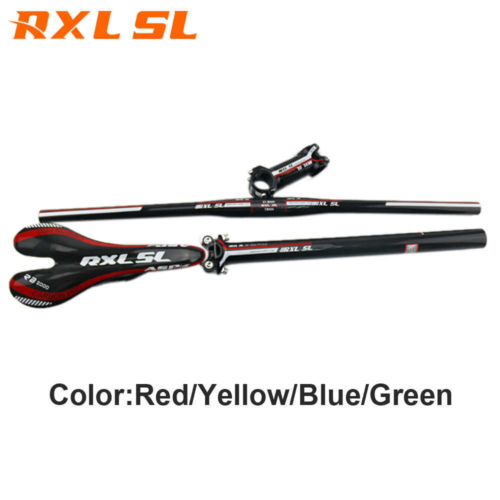 RXL SL Bicycle Handlebar Flat/Riser Carbon Seatpost 31.6mm Stem MTB Mountain Bike Handlebar Sets Cycling Handlebar cycling king c k 2015 mtb handlebar bicycle stem carbon seatpost tube flat or riser mountain bike bar top carbon super set