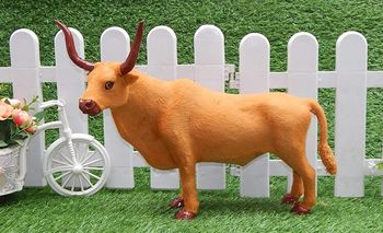 large 40x30cm simulation cattle with horn polyethylene&furs yellow cattle model handicraft prop,home decoration Xmas gift w1459