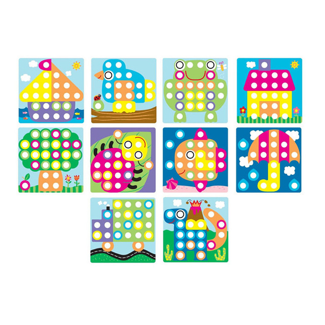3D Puzzles Toys For Children Composite Picture Puzzle Creative Mosaic Mushroom Nail Kit  Educational Toys Button Art Kids Toy