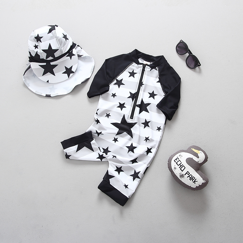 Popular Stars Kids Swimsuit Quality Boys Baby Swimwear One-pieces Black and Whitte Bath Suit Infant Children Beachwear 1-7Y batman black and whitte volume 4
