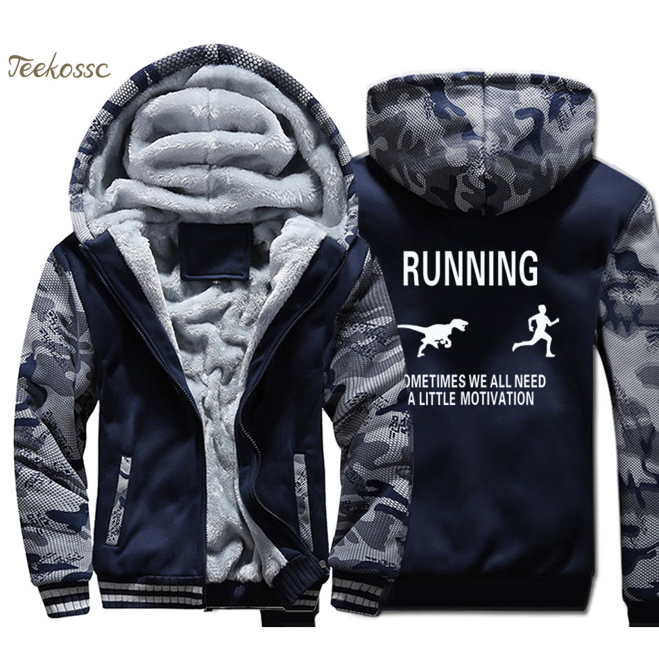 Humorous Running Motivation Raptor Chase Hoodies Men Funny Dinosaur Sweatshirts Winter Thick Fleece Warm Camouflage Jackets Mens Coats Men's Clothing
