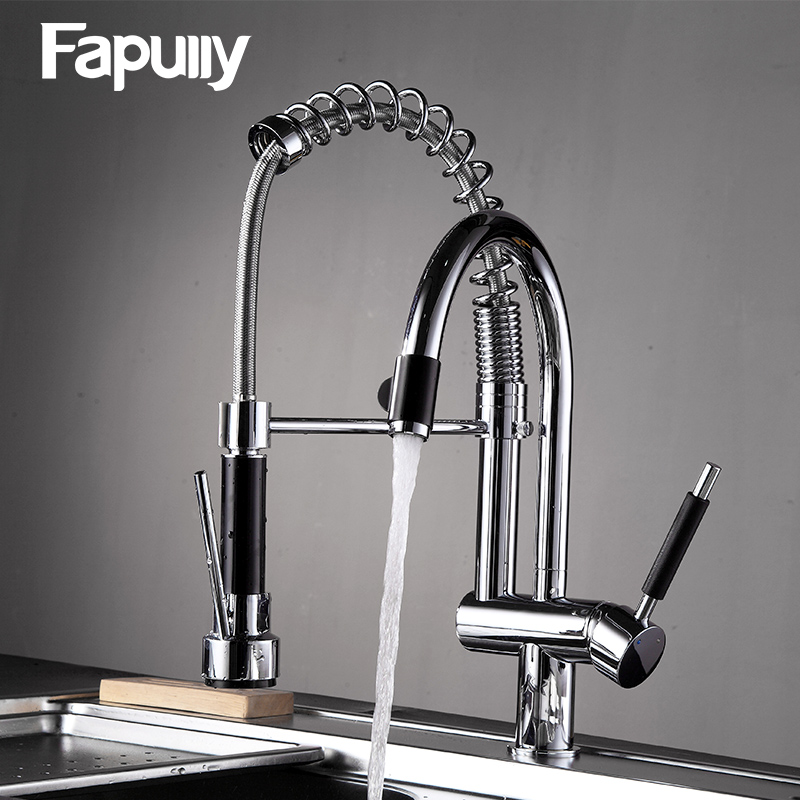 Fapully Kitchen Sink Faucet Chrome Double Swivel Hand Spray Chrome 3-Function Hot Cold Water Outlet Rotatable Kitchen Mixer 235