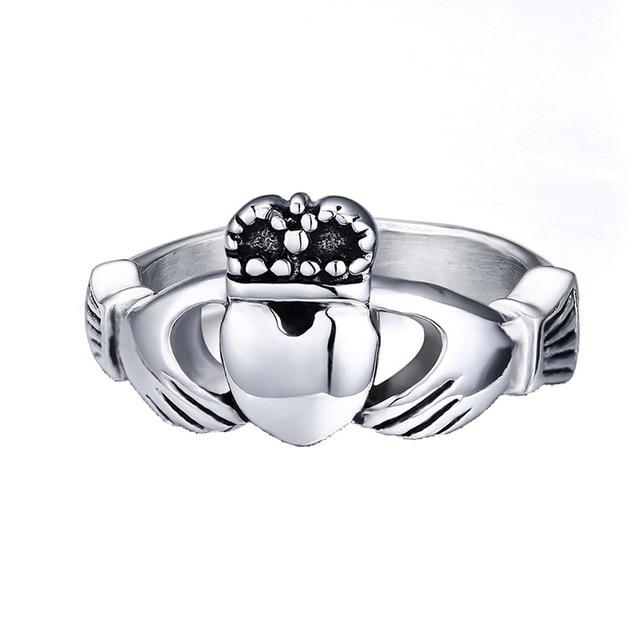 The Irish Wedding Claddagh Ring My Hands Give You My Heart Titanium