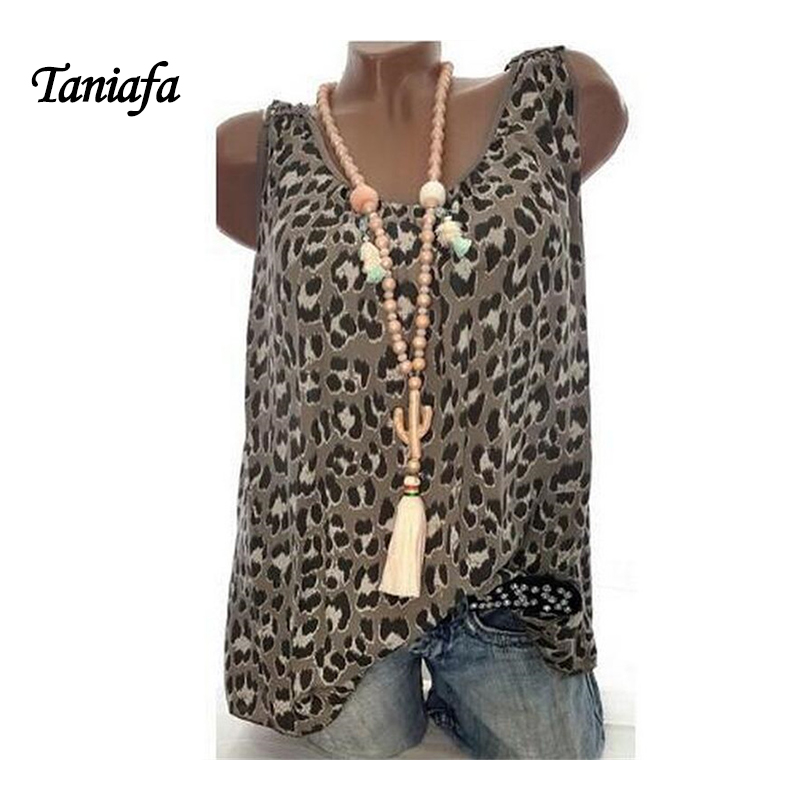 TANIAFA Plus Size S 5XL Women Fashion Round Neck   Tank     Top   Leopard Print Vest Summer Back Hollow Out Tees All Match   Tops   Tees