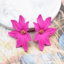 Корейский стиль спрей краска большой цветок серьги гвоздики для женщин модные летние элегантные милые ювелирные аксессуары Brincos