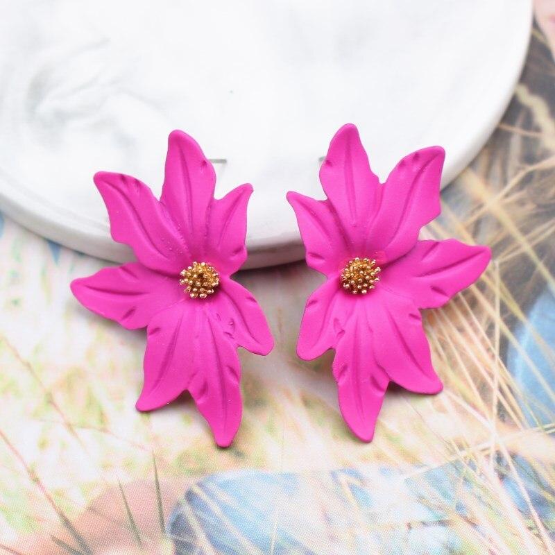 New Korean Style Spray Paint Big Flower Stud Earrings For Women Fashion Summer Elegant Sweet Jewelry Accessories Brincos