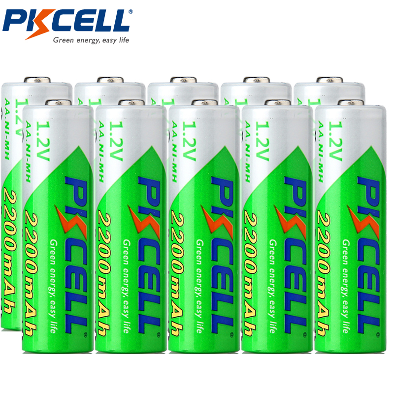10pcs/lot PKCELL AA Rechargeable Battery Low Self-discharge 2A Ni-MH 1.2V 2200mAh AA Rechargeable Batteries Baterias