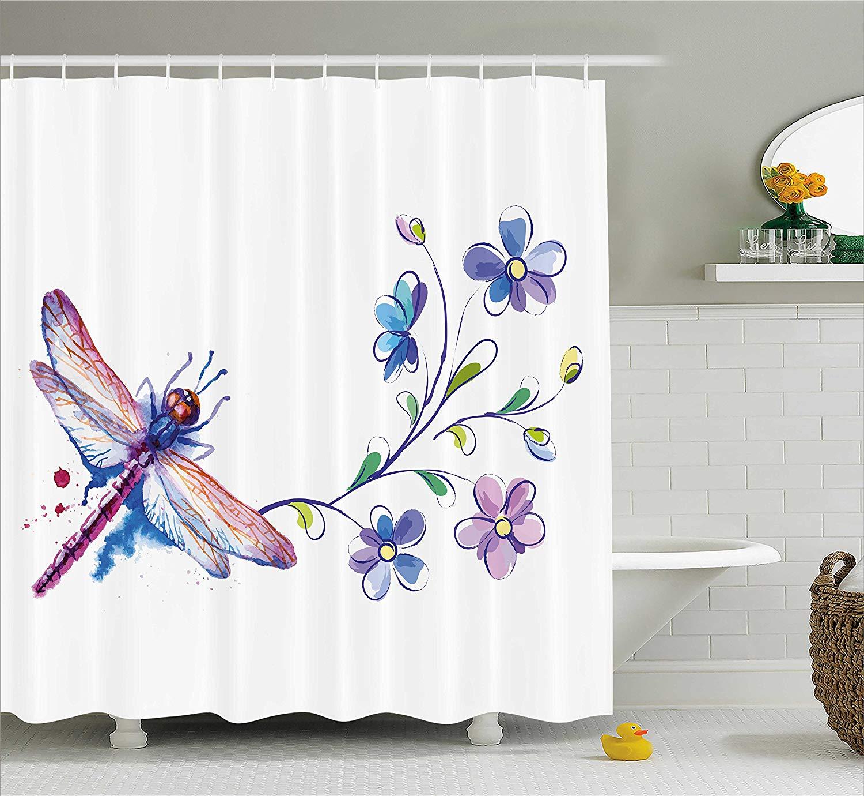 Занавеска для душа в виде стрекозы, акварельная бабочка жук, как Мотылек с веткой, цветы плюща, лилии, Художественная ткань, декор для ванной