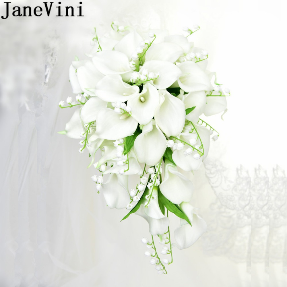 JaneVini White Waterfall Wedding Bouquet Artificial Calla Lily Of The Valley Blue Flowers Bridal Support Bouquets Flores Novia