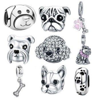 925 Sterling Silver A História do Cão Poodle Filhote de Cachorro Bulldog Francês Beads Charme Fit BISAER Encantos Pulseira Prata 925 Originais