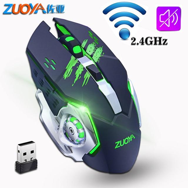 ZUOYA, Mouse inalámbrico silencioso para juegos, ratón inalámbrico recargable de 2,4 GHz y 2000DPI, ratón óptico USB para juegos, ratón retroiluminado para PC y portátil