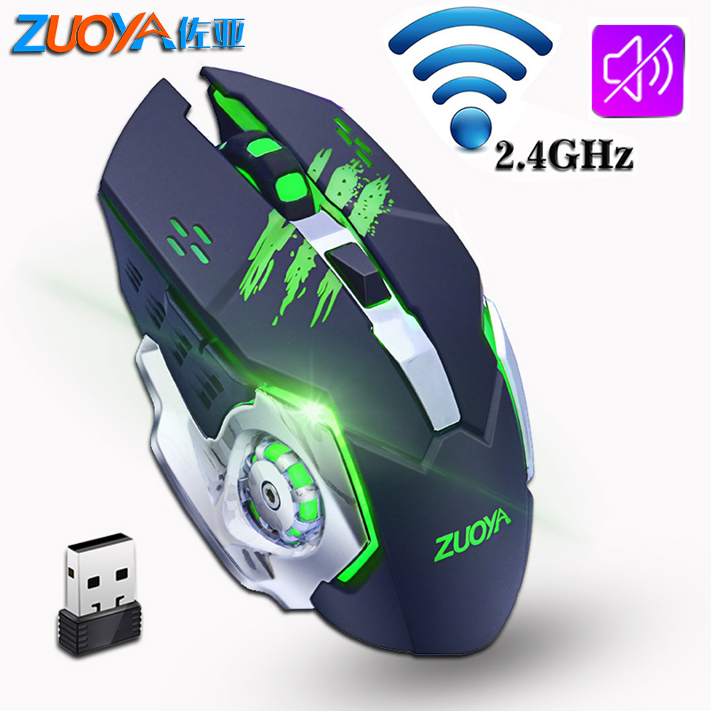 ZUOYA Silent Gaming Wireless Mouse 2.4GHz 2000DPI Rechargeable Wireless Mice USB Optical Game Backlight Mouse For PC Laptop цена