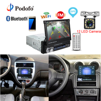 Podofo GPS Navigation Stereo Audio Radio Car Multimedia MP5 Player Bluetooth 1din 7 HD Retractable Touch