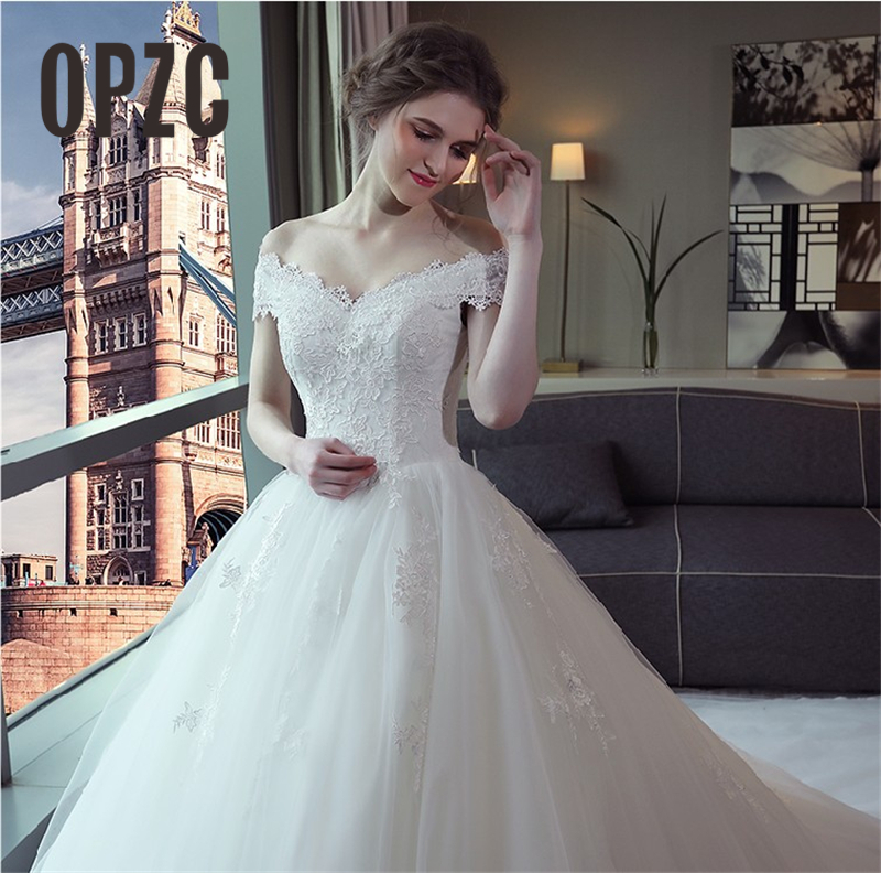 Luxury Lace Embroidery 2019 Wedding Dresses 100cm Long Train Sweetheart Elegant Plus size Vestido De Noiva