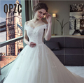 Роскошная кружевная вышивка  свадебные платья 2020  120 см  длинный шлейф  милая  элегантная  плюс размер  Vestido De Noiva  для невесты  вырез лодочкой
