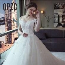 Laço de luxo bordado 2020 vestidos de casamento 120 cm longo trem querida elegante plus size vestido noiva barco pescoço