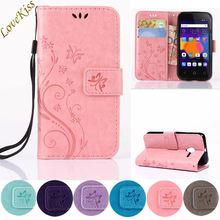 Flower Leather Phone Case For Alcatel One Touch Pixi 3 4.5″ 4027D Pixi3 5017D For iPhone 6 6s 7 Plus 5S SE Cover Capa Wallet Bag