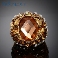 MOONROCY Free Shipping fashion champagne crystal rings jewelry wholesale rose gold color for Women hyperbolic rings Gift