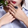 Anillo de Compromiso de Joyería de moda Flor Grande de Latón Bandas de Bodas de Platino Plateado Ajuste Del Diente CZ Joyas de Cristal para Las Mujeres