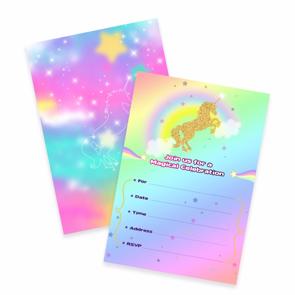 Aytai 100pcs unicorn invitation cards birthday baby shower magical aytai 100pcs unicorn invitation cards birthday baby shower magical unicorn rainbow themed party cards for kids unique design stopboris Choice Image