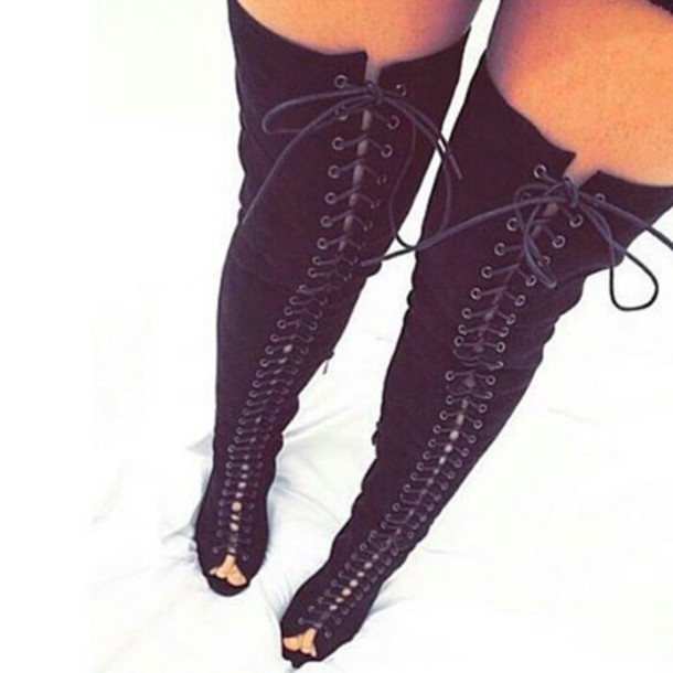 Plus Size Lace Up Thigh High Boots - Cr Boot
