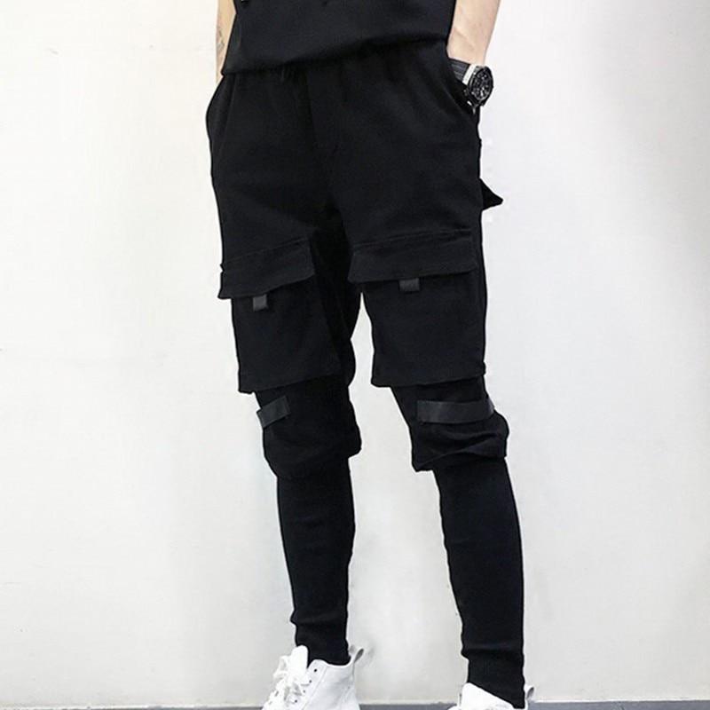 New Brand Black Dance Hip Hop Pants Fashion Pencil Pants US Size S-XXL Casual Trousers Male Patchwork Full Length Pants Men