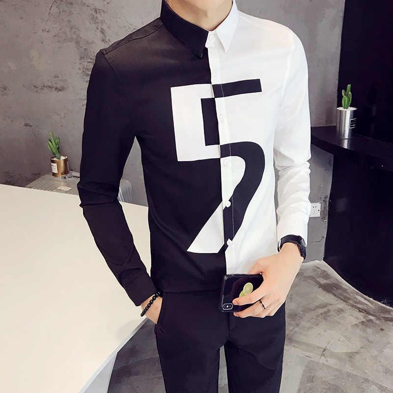 番号プリント男性シャツコントラストブラックホワイトパッチワークカラーナイトクラブブラウス韓国シャツ男性スリムフィット長袖