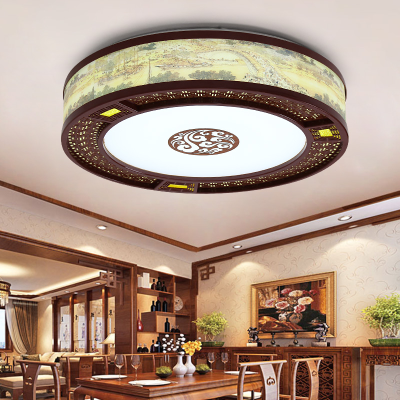 Chinese style round led ceiling lamps round living room lamps LED wooden bedroom LED lamp lighting ceiling light ZA81474
