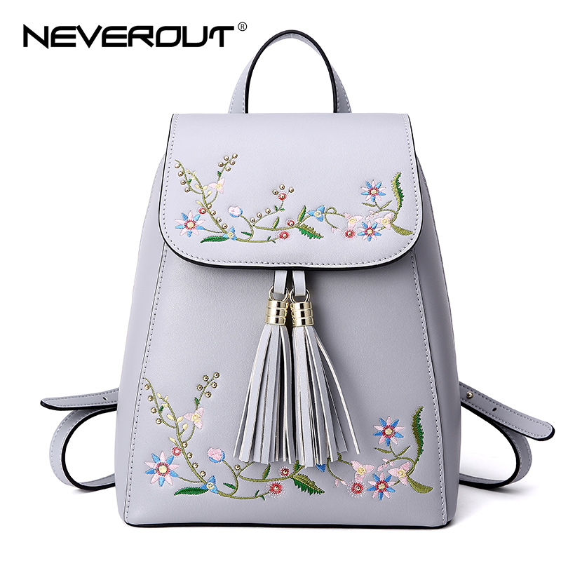 NeverOut Embroidery Theme Women's Backpacks Split Leather Backpack Fashion Brand design Travel Bags High Quality Lady School Bag foru design 600d fashion backpack brand design school book bag polyester bag men computer packsack swiss outsports backpacks