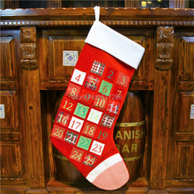 Free shipping!Luxurious creative design !1pc/lot Christmas advent calendar Stocking Sack countdown embroidered number pockets