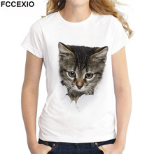 FCCEXIO 2019 Fashion 3D Cat Print Casual Harajuku Women T-Shirt Summer Short Sleeve Casual Round Neck Tops New Tees
