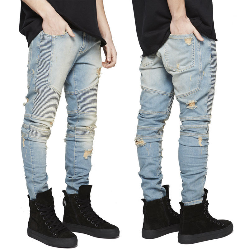 2018 Hip -Hop Men Jeans Casual Denim Distressed Men S Slim Jeans Pants Brand Jeans Skinny Rock Ripped Jeans
