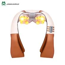 JinKaiRui U Shape Electric Shiatsu Kneading Back Neck Shoulder Foot Body Massager Infrared Heated Car/Home Massagem