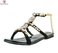 Intención Original Mujeres Con Estilo Sandalias Gorgeous Rhinestone Niza Nude Sandalias de Punta Abierta Negro Zapatos de Mujer Más El Tamaño EE.UU. 4-15