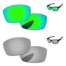 eaa5c412ee Cromo de plata y verde 2 pares espejo polarizado lentes de recambio para Júpiter  cuadrado gafas de sol marco 100% UVA y UVB prot.