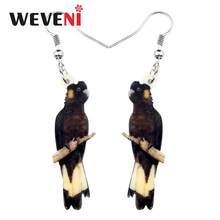 WEVENI Acrylic Australian Cute Yellow-tailed Black Cockatoo Bird Earrings Dangle Drop Unique Jewelry For Women Girls Party Gift(China)