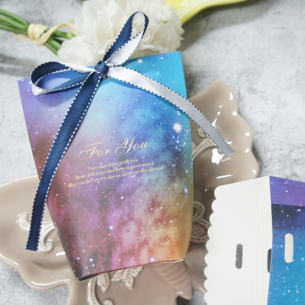 10 pcs look into sky universe Candy Storage Boxes paper box pillow shape Gift Packaging wedding birthday party box multi-use