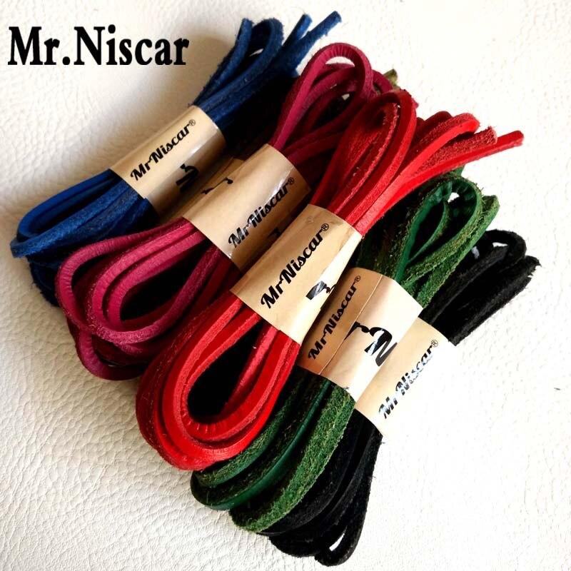 Mr.Niscar 2 Pair Genuine Cowhide Square laces Boat Shoes Shoelaces Retro Leather Boots Shoestring Length 60CM-180CM