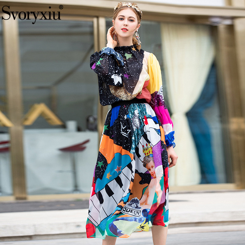 Svoryxiu Autumn Summer Fashion Runway Skirt Suit Women s Starry Sky Angel Print Blouse Long Skirts